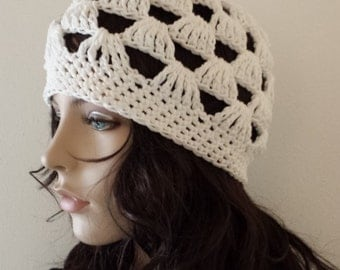 Spring Summer Hat Skull Cap handmade crocheted Knitted in WHITE All Season HAT Fashion Women available in 23 colors