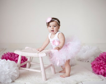Pink Tutu, Baby Girls 1st Birthday Dress Outfit, Sweet Pink Ballerina Tutu Dress, Baby Girls 1st Birthday Outfit