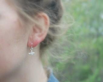 Flower earrings, sterling silver, sprout, gardener gift, flower girl jewelry, bridesmaid earrings, simple jewelry - Anjali
