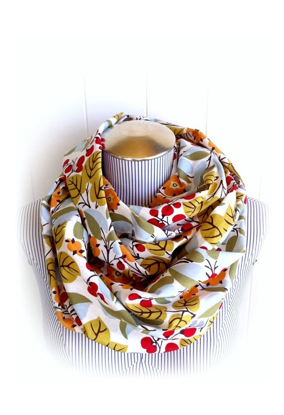 Woodland Peasant Infinity Scarf, Cotton Print of Twigs, Red Berries, Orange Flowers and Leaves, Natural Foliage Loop Scarf