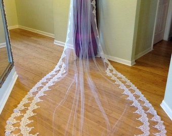Cathedral lace veil with two rows of lace on the bottom, with gathered top on a comb, beaded lace wedding veil, luscious lace  bridal veil