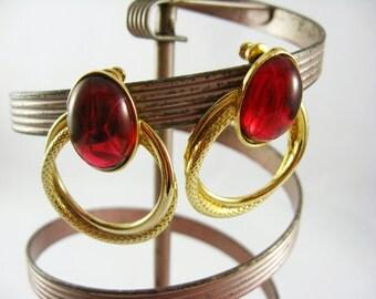 Red and Gold Earrings, Gold Hoops Earrings, Cranberry Earrings, Raspberry Pink Rhinestone Earrings, Gold Post Earrings, Pierced Earrings