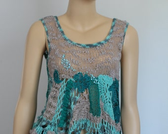 sale 25% Off Gray Turquoise Freeform Crochet Knitting Top Tank Blouse Sweater   - Wearable Art - OOAK-Ready to ship