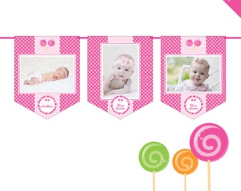INSTANT DOWNLOAD Lollipop Party - DIY printable photo banner kit