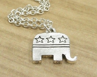 Republican Elephant Necklace, Silver Republican Elelphant Charm on a Silver Cable Chain