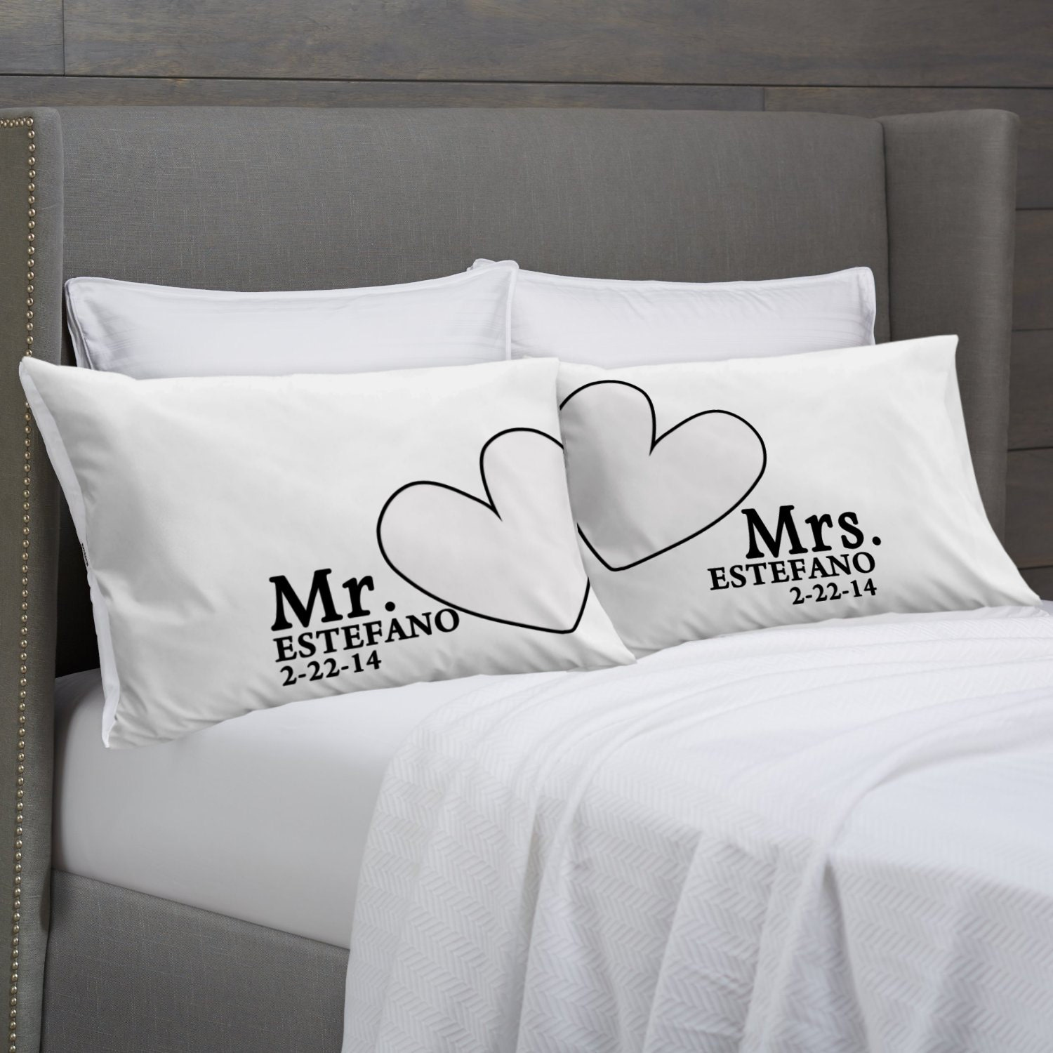 Mr And Mrs Pillowcases Personalized Wedding Anniversary