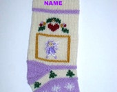 Christmas stocking  personalized.  Hand knit. One of a kind  baby girl's first Christmas stocking. Christmas decoration.Ready to ship