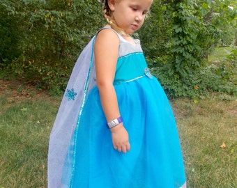 Queen Elsa Costume: detachable cape, sparkle, white and teal, snow queen, Birthday Princess Party, tutu dress, twirl, tulle, trip adjustable