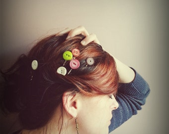 Red, Vintage Button, Hair Pin, Bobby Pin