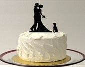 INCLUDE YOUR DOG + Bride + Groom Silhouette Wedding Cake Topper Dog Pet Family of 3 Wedding Cake Topper Bride and Groom Cake Topper