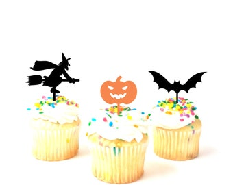 MADE In USA, Halloween Cupcake Toppers Set of 3 Witch Pumpkin & Bat, Cupcake Toppers, Silhouette Cupcake toppers, Halloween Party Cake Decor