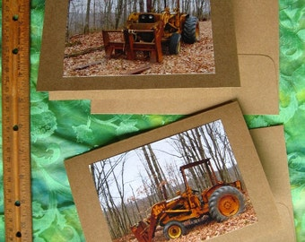 2 JOHN DEERE TRACTOR Cards - Photos of Rusty Barn Find on 5 by 7 Brown Notecard, Great Old Farm Machinery, Photograph Equipment Card