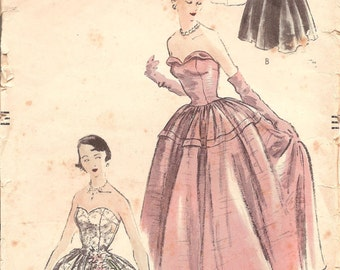 1950s Sleeveless Evening Gown Pattern - Vintage Vogue 3398 - Bust 31 1/2