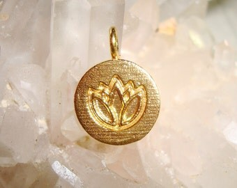15x10mm, 4 pcs, 24K Gold Vermeil Over Sterling Silver Lotus Symbol Pendant Charm, Handmade Findings
