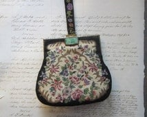 vintage petit point tapestry purse with jade clasp