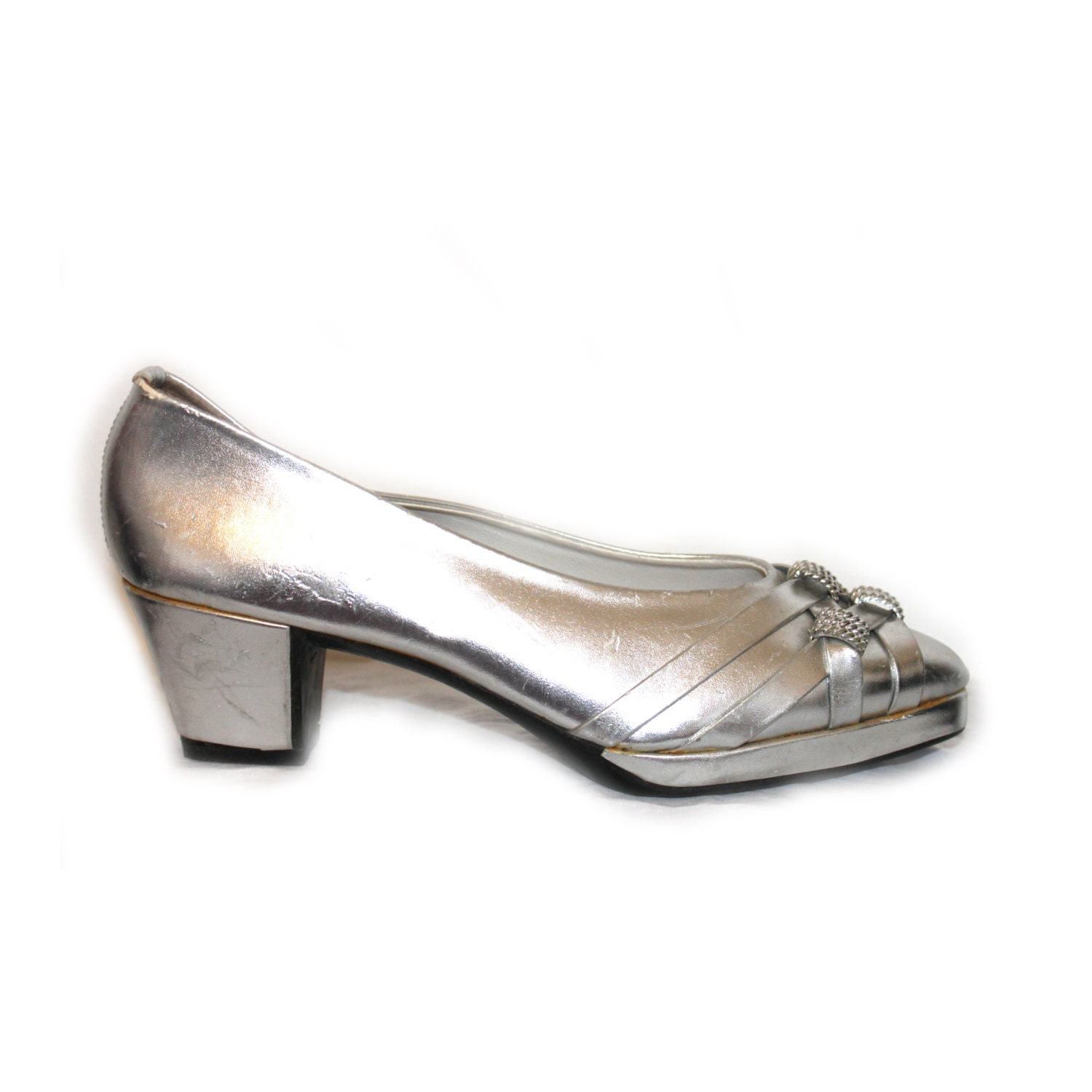 1970s 70s silver platform shoe evening by