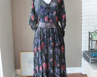 90s sheer gauze Maxi Dress Dress Floral hippie Dress Stevie Nicks dress Bohemian Gypsy Flowy One Size
