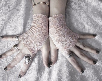 Akarameru Lace Fingerless Gloves - Pale Peach Pink Blush Floral - Wedding Gothic Victorian Vampire Regency Bohemian Noir Austen Bridal