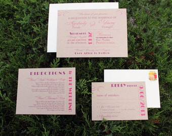 Modern Rustic Wedding Invitation / Purple and Fuschia / Modern Wedding Invites / Mixed Font Design Sample