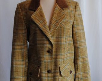 Womens Glen Plaid Wool Blazer with Suede Collar by Forenza