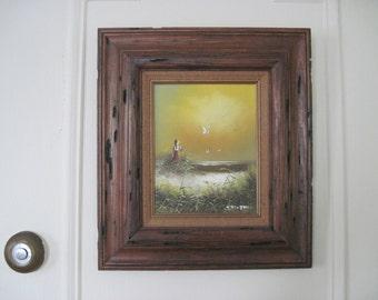 girl and the sand dune, vintage 1960s original framed oil painting - artist signed J FENTON - seascape, ocean, sunset,