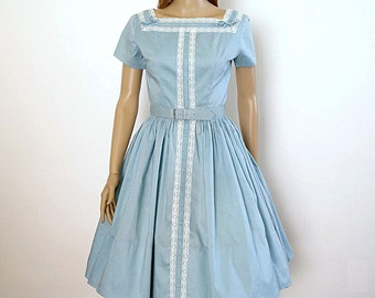 Vintage 1950s Dress Pale Blue Lace Ruched Party Dress / Small