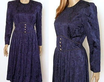 1980s Dress Navy Blue Silky Floral Gold Braid High Waist Dress / Small to Medium