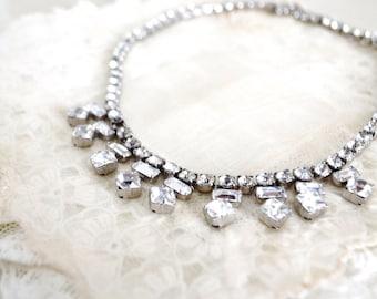 Vintage 1950s Weiss Chandelier Rhinestone Necklace Choker