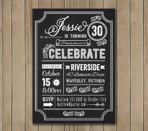 30th Birthday Chalkboard Invitation. Typography. Milestone