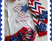 Patriotic baby onesie, birthday girl set, stars and stripes, baby girl outfit, ruffled diaper cover, leg warmers and headband with bow
