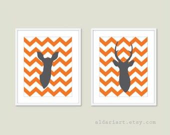 Tangerine Deer Etsy