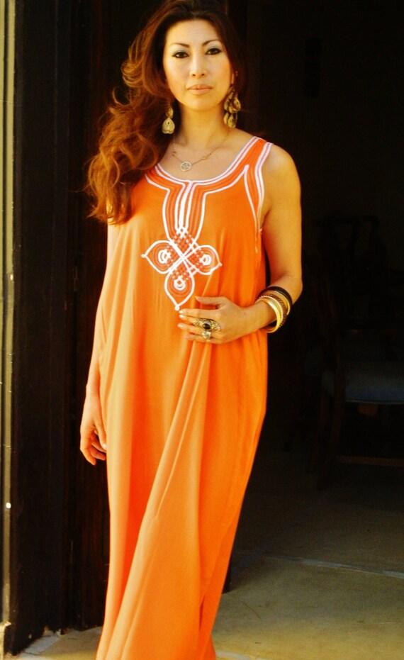 Kaftan Resort Non-Sleeve Orange Caftan Agadir -Perfect for Valentine's day gift,resortwear,loungewear, birthdays, honeymoon, maternity gifts