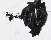 Extra large original fine art abstract figure painting by Derek Overfield - classical theme - minimal