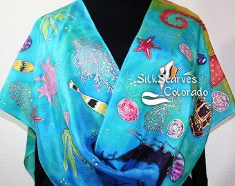 Silk Scarf Handpainted. Blue, Teal, Turquoise Silk Wrap. Handmade Silk Shawl UNDERWATER TREASURE. Large 14x72. Birthday Gift. Gift Wrapped