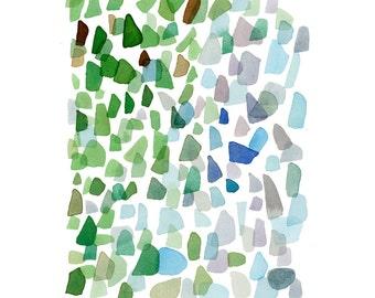 Watercolor green blue sea glass, Original watercolor painting, Sea glass art,  Abstract painting green blue beach finds