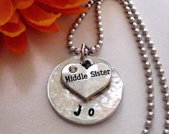 Sister Necklace, Middle Sister Necklace, Personalized Jewelry, Middle Sister Jewelry, Personalized Sister Necklace, Jewelry for Sister