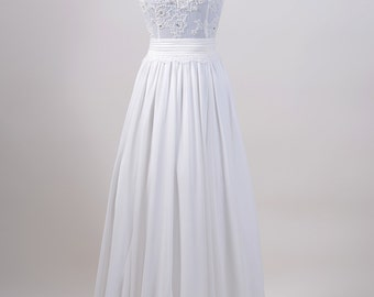 Lace wedding dress, wedding dress, bridal gown, sleevelss V-back alencon lace with chiffon skirt.