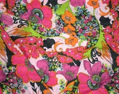 RESERVED for Deborah Vintage 1960s Psychedelic Floral Trippy Poppy Fabric Cotton Sheer