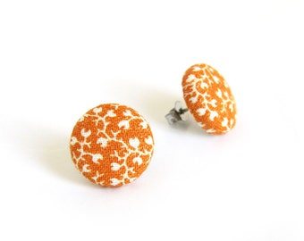 Orange button earrings - orange stud earrings - fabric covered white flowers tangerine bright - fall autumn