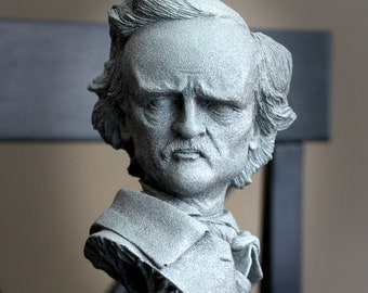 Awesome Edgar Allan Poe Sculptural Bust, Halloween Decor, Office Decor, Stone Bust with Glow in the Dark Surprise