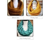 Chunky Cowls Pattern Pack Knitting Patterns Chunky Scarf, Ribbed Cowl, Lacy Cowl, Beginner DIY Christmas Gift  WWKIP Day