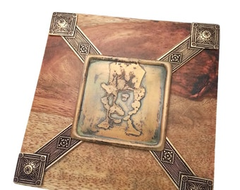 Steampunk Secret Stash Treasure Jewelry Box Wood and Brass With Mustache Man #1 by Dr Brassy Steampunk