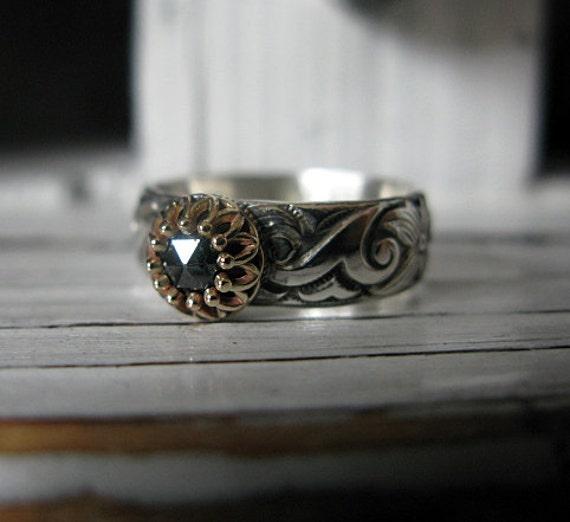 Black diamond ring size 7 by hotroxcustomjewelry on etsy