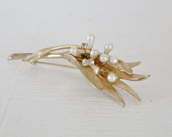 Vintage Flower Brooch Rhinestone Faux Pearl Wired Adjustable Bridal Gold Tone Articulated Mid Century Costume Jewelry GallivantsVintage