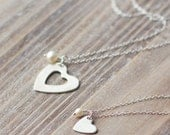 Mother Daughter Heart Necklace Set - Sterling Silver - Small Heart and Large Heart - Nesting Heart Necklaces - Valentine's Day Gift