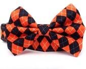 Dog Collar Bow Tie / Orange Black dog collar / Halloween Dog Collar / Plaid Dog Collar  / Argyle dog collar / Dog bowtie / Fall Dog Collar