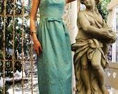 Vintage 50s BROCADE Bombshell COCKTAIL Dress Turquoise Gold SCROLLS Embossed Damask Gown // TatiTati Style on Etsy