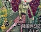 DREAM Big - ACEO / ATC Print Bohemian Art, Inspirational Motivational Whimsical Art, Follow your dreams, Big Hair Doll Freckles