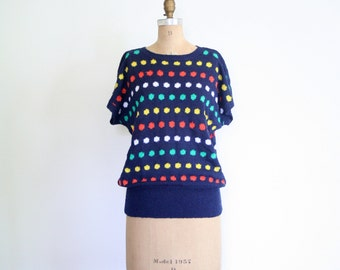 vintage 80s polka dot sweater - short sleeve 80s sweater / 1980s brightly colored dot sweater / kawaii pop sweater - 1980s dotty sweater