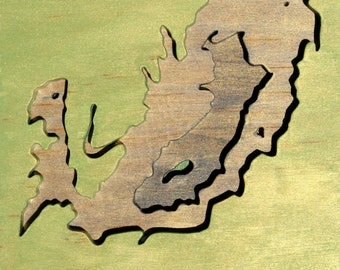 Wilderness & Boundary Line, Petrified Forest, Acrylic on Birch Plywood, map art